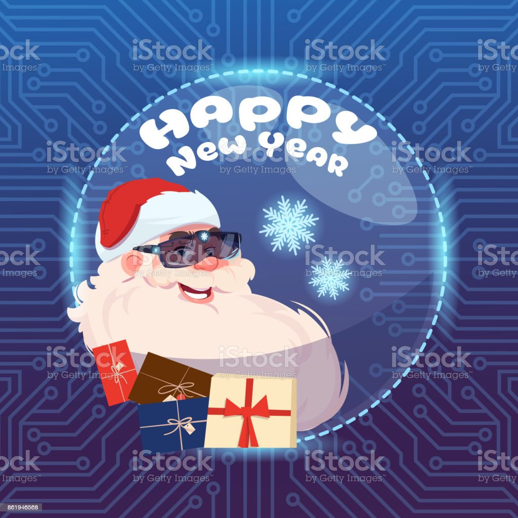 Santa Claus Wear Digital Glasses Virtual Reality Concept Merry