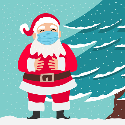 Santa Claus wearing a face mask due to the covid-19 coronavirus outbreak. New Normal concept.