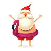 Santa Claus wearing flamingo swim ring - summer Christmas vector illustration isolated on white background
