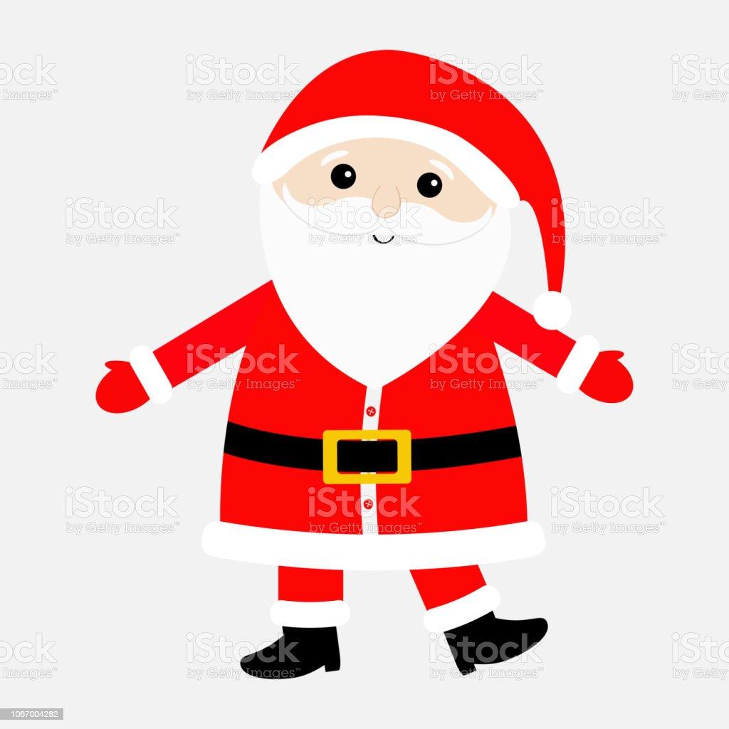 Ilustracion De Santa Claus Con Traje Sombrero Rojo Cinturon De Oro