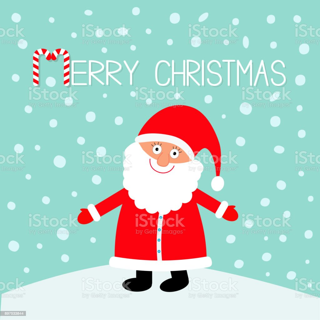Santa Claus Wearing Red Hat Costume Big Beard Merry Christmas Candy ...
