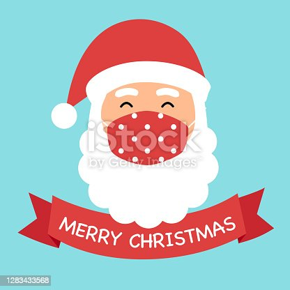 Santa Claus wearing red medical face mask in flat design. Merry Christmas 2020 festival celebration in Covid-19 Coronavirus outbreak concept vector illustration.