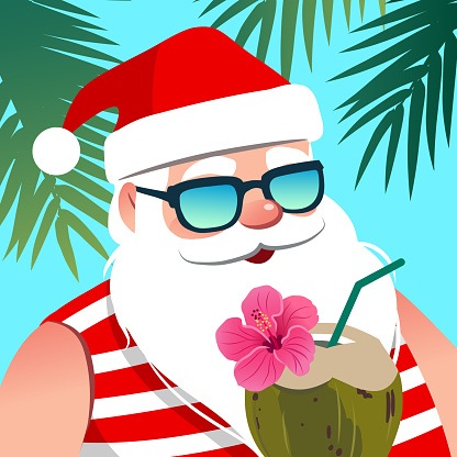 Santa Claus Wearing Sunglasses With Coconut Drink Against ...