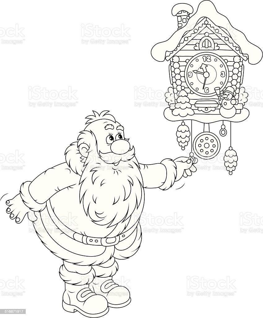 Ilustración De Santa Claus Llega Un Reloj De Cuco Y Más Vectores