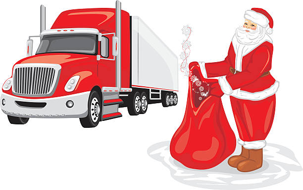 Santa Claus with a bag of gifts. Christmas delivery Santa Claus with a bag of gifts. Christmas delivery. Vector illustration one senior man only illustrations stock illustrations