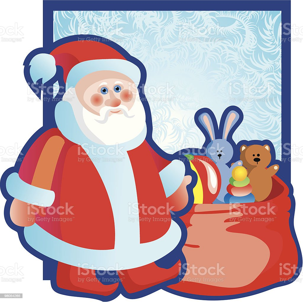 Santa Claus with a bag of gifts royalty-free santa claus with a bag of gifts stock vector art & more images of box - container