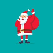 Santa Claus with a bag waving his hand. Merry Christmas and happy New Year. Flat design vector illustration.