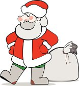 Santa Claus with a big sack of Christmas gifts