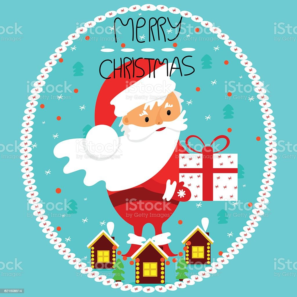 Santa Claus with a gift in hand. Merry Christmas. Lizenzfreies santa claus with a gift in hand merry christmas stock vektor art und mehr bilder von baum