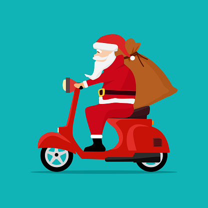 Santa Claus with a gift sack riding a scooter. Christmas holiday design. vector