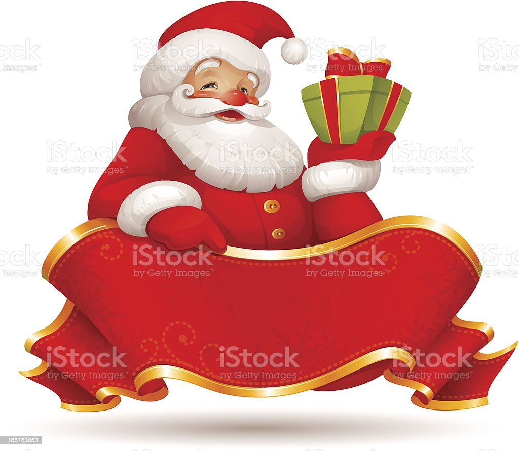 Santa Claus with a Gift vector art illustration