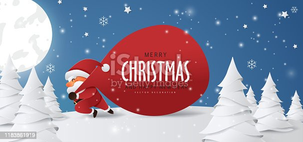 Santa Claus with a huge bag on the run to delivery christmas gifts at snow fall.Merry Christmas text Calligraphic Lettering Vector illustration.