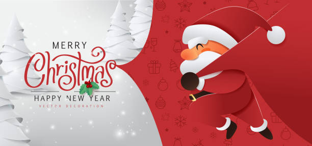 Santa Claus with a huge bag on the run to delivery christmas gifts at snow fall.Merry Christmas text Calligraphic Lettering Vector illustration. vector art illustration