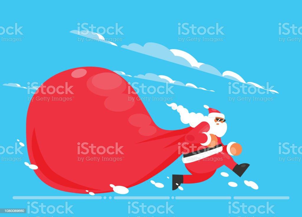 Weihnachtsgeschenke Clipart.Santa Claus Mit Einer Großen Tasche Auf Der Flucht Um Lieferung
