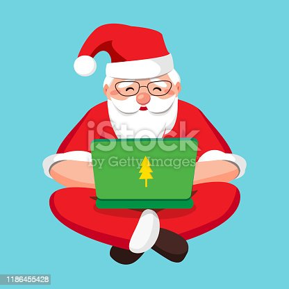 istock Santa Claus with a laptop, carefully answers incoming letters and gift wishes and receives mail. Santa Claus programming code and relaxed sitting cross-legged isolated. Vector illustration. 1186455428