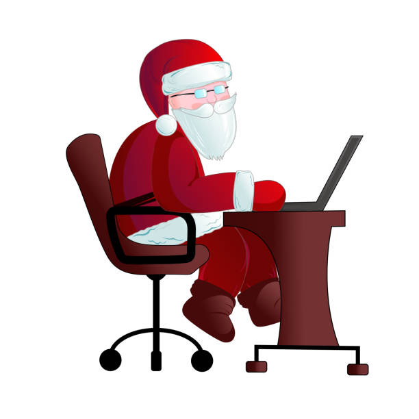 santa claus with a laptop. - old man sitting chair clip art stock illustrations, clip art, cartoons, & icons