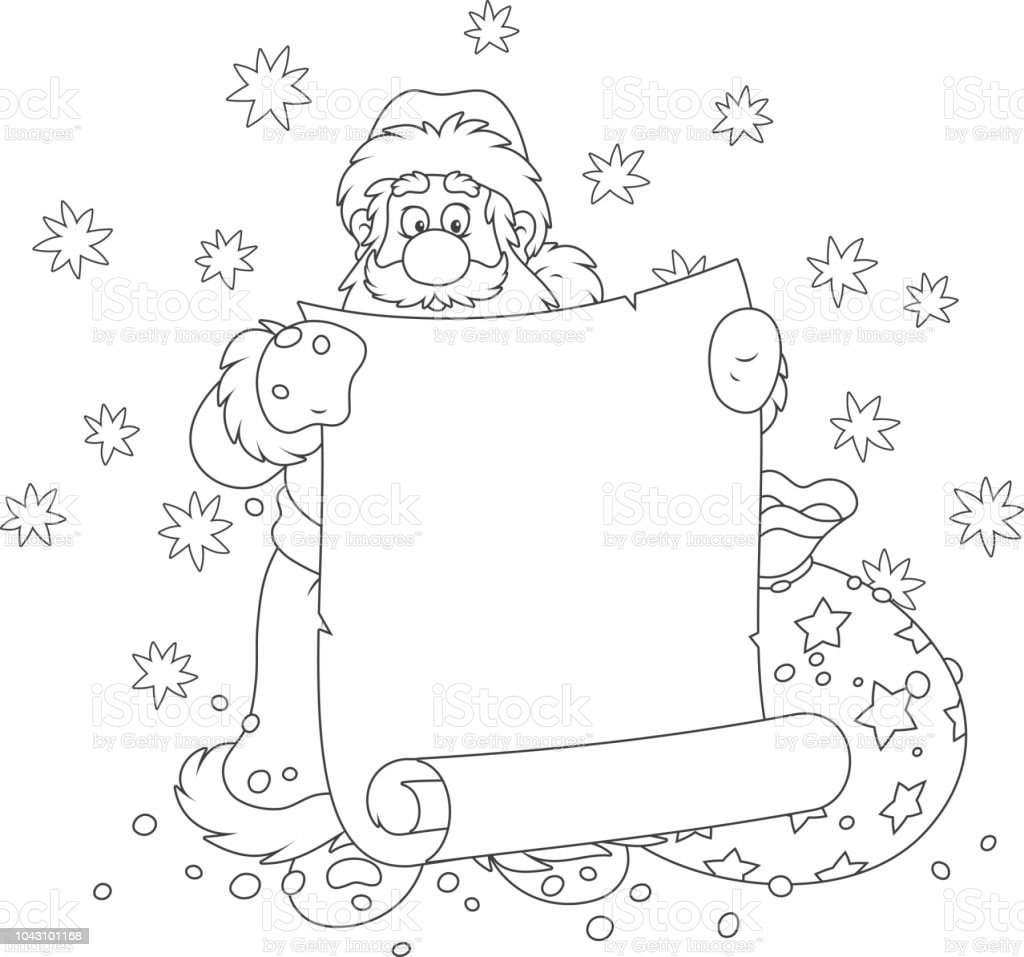 Santa Claus With A Paper Scroll Stock Illustration
