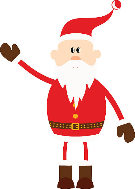 santa claus with a raised left hand. - old man funny pictures stock illustrations