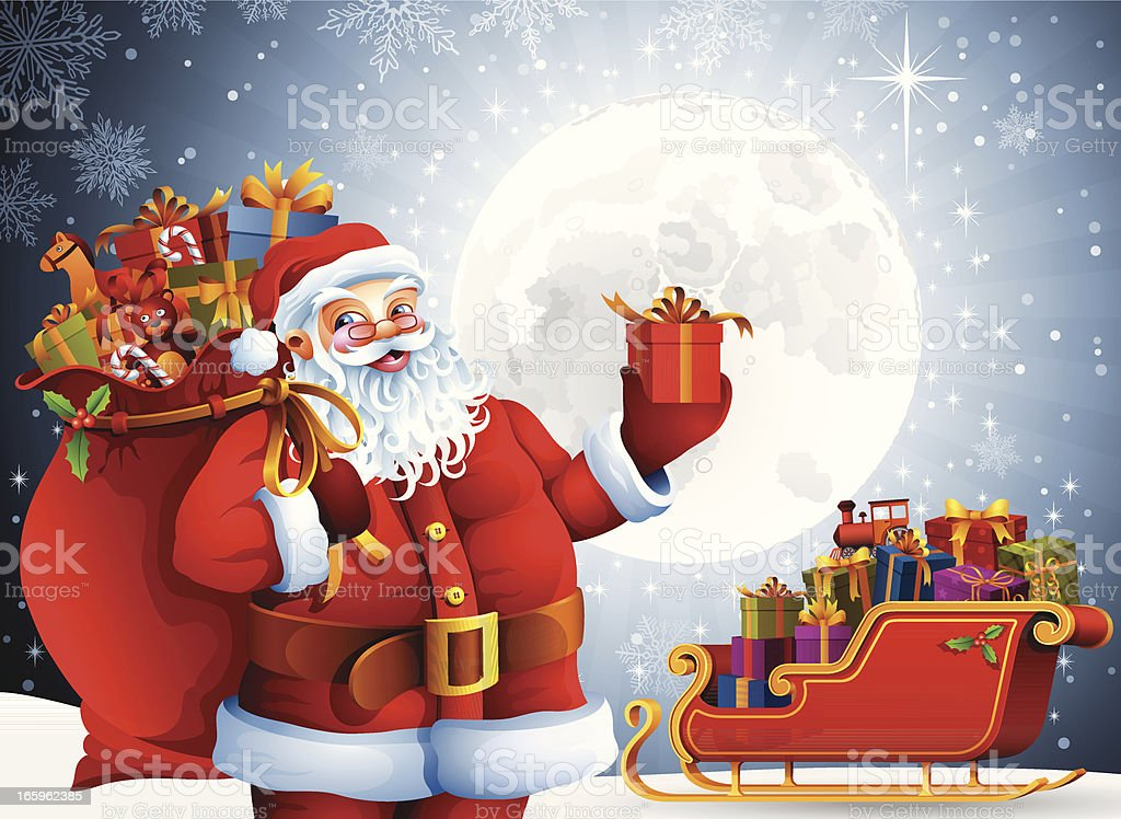 Santa Claus with bag full of gifts royalty-free santa claus with bag full of gifts stock vector art & more images of bag