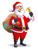 Vector illustration of a cheerful Santa Claus with a large bag full of presents ringing a golden Christmas bell, isolated on white.