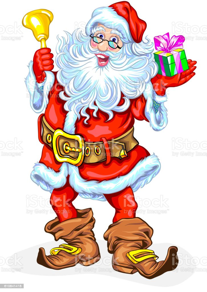 Santa Claus with bell and a gift in box royalty-free santa claus with bell and a gift in box stock illustration - download image now