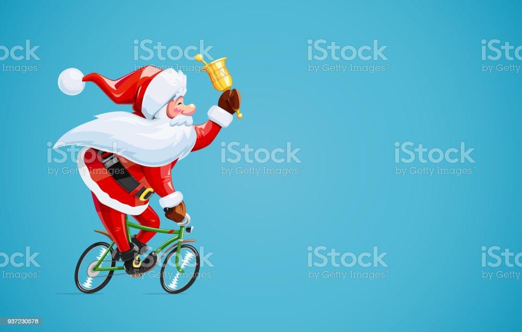 自転車のベルとサンタ クロースクリスマスの漫画のキャラクター