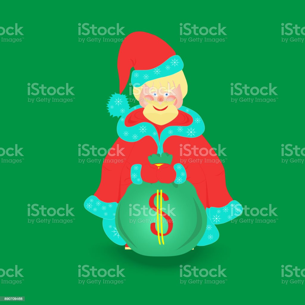 Santa Claus with Big Bag, Isolated vector art illustration