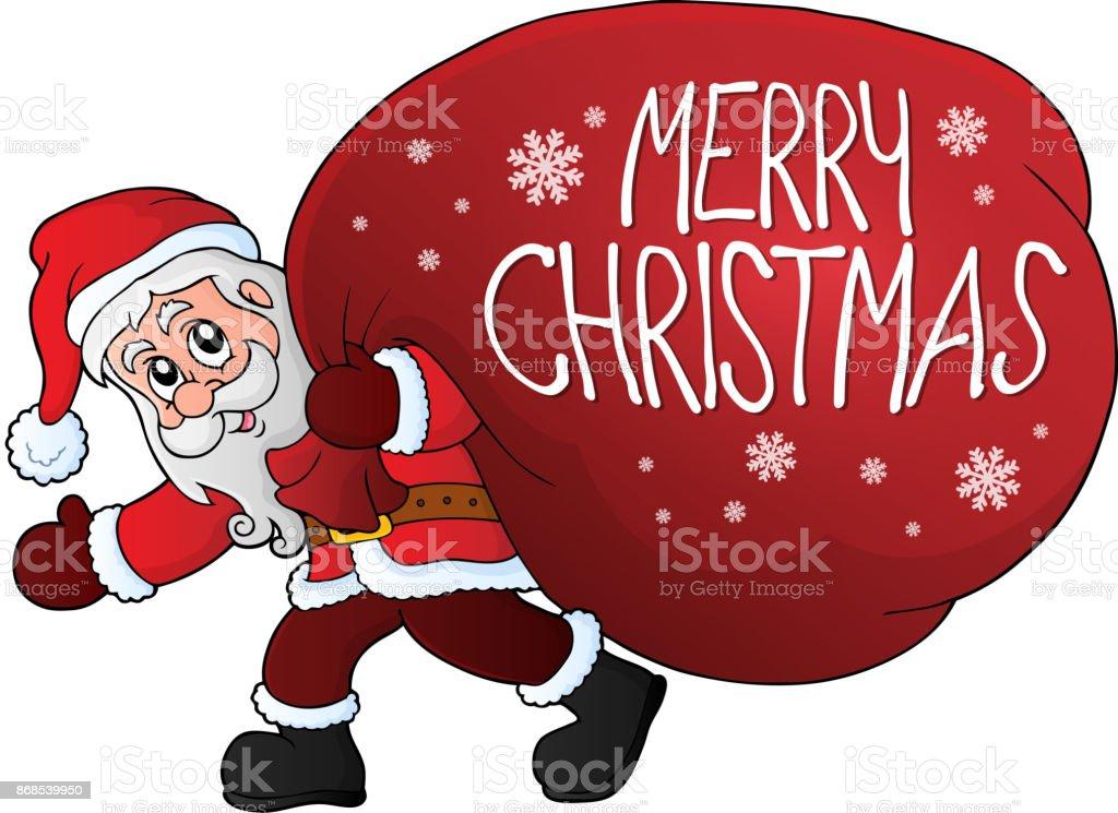 Kerstman Met Groot Cadeau Zak Thema 2 Stockvectorkunst En
