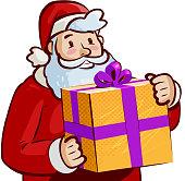 Santa Claus with big gift in hands. Christmas, xmas concept. Cartoon vector illustration