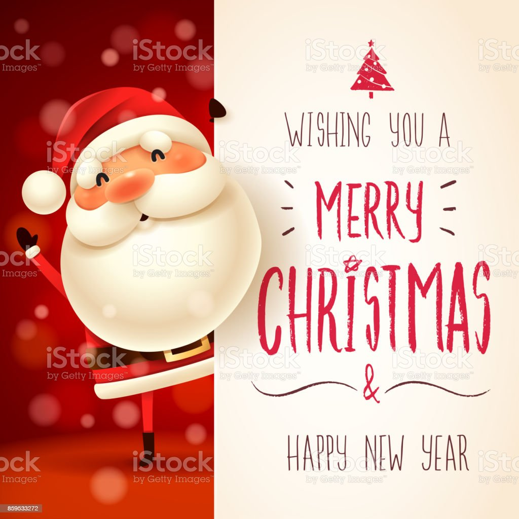 Santa Claus with big signboard. royalty-free santa claus with big signboard stock illustration - download image now