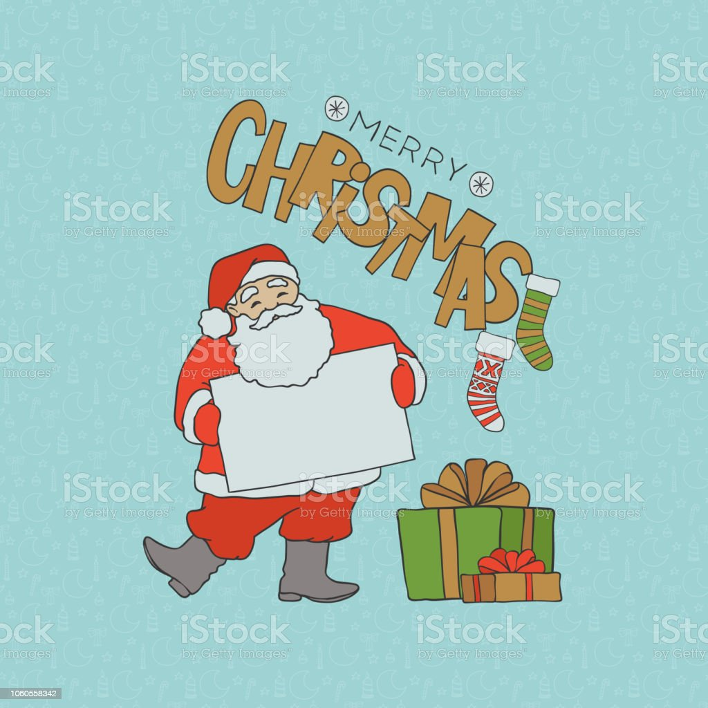 santa claus with blank poster for congratulations and gifts merry