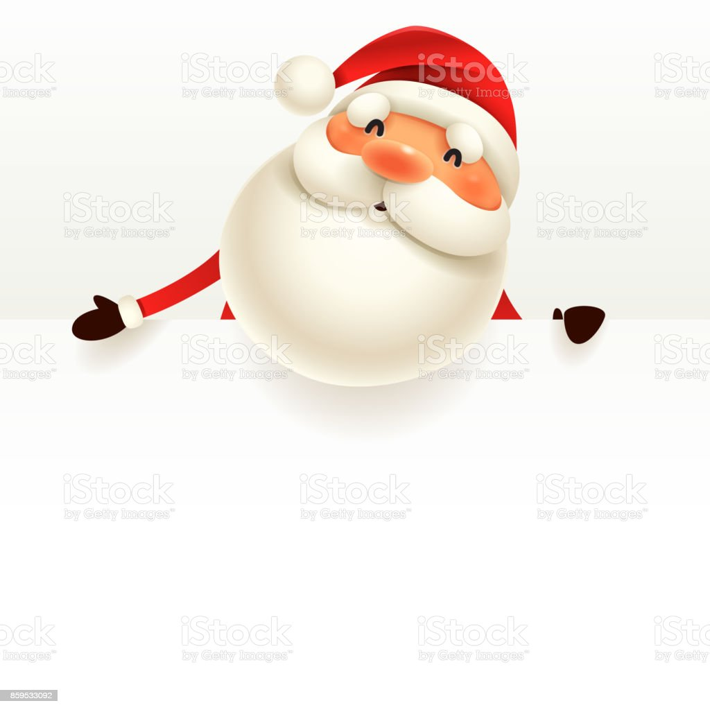 Santa Claus with blank signboard. vector art illustration