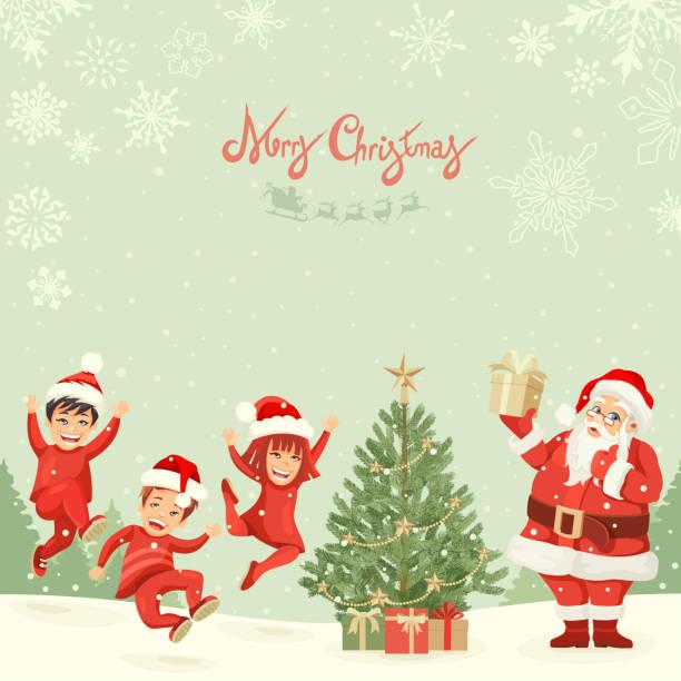 Santa Claus With Children vector art illustration