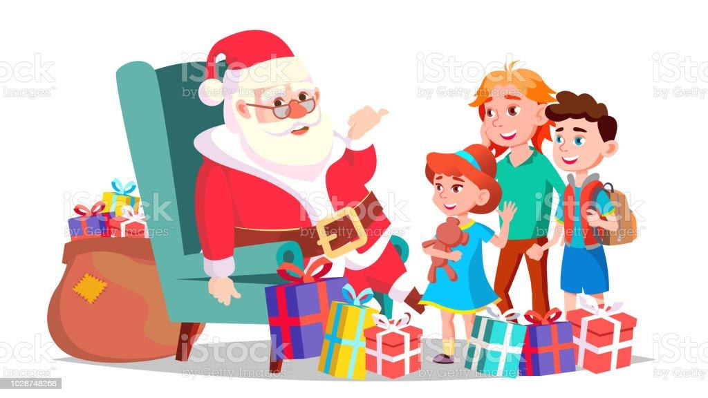 Vetores De Papai Noel Com Vetor De Criancas Feliz Natal E Feliz
