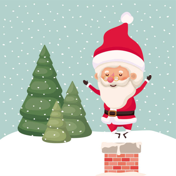 santa klaut mit schornstein in schneelandschaft - kaminverkleidungen stock-grafiken, -clipart, -cartoons und -symbole