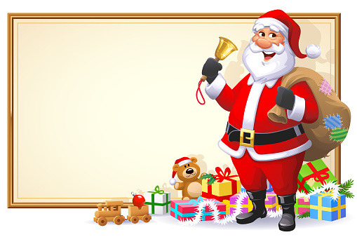 Santa Claus With Christmas Bell And Presents- Sign