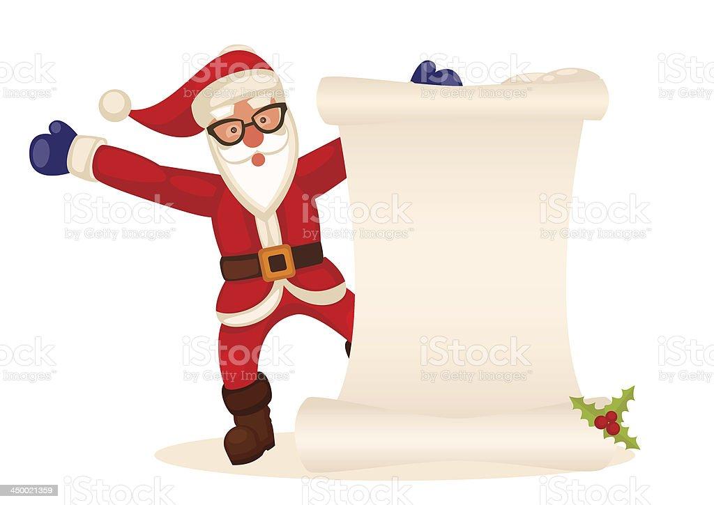 Santa Claus Mit Weihnachtsgeschenke Und Wünschen Liste Vektor ...