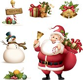 cartoon illustration of santa claus with christmas icons