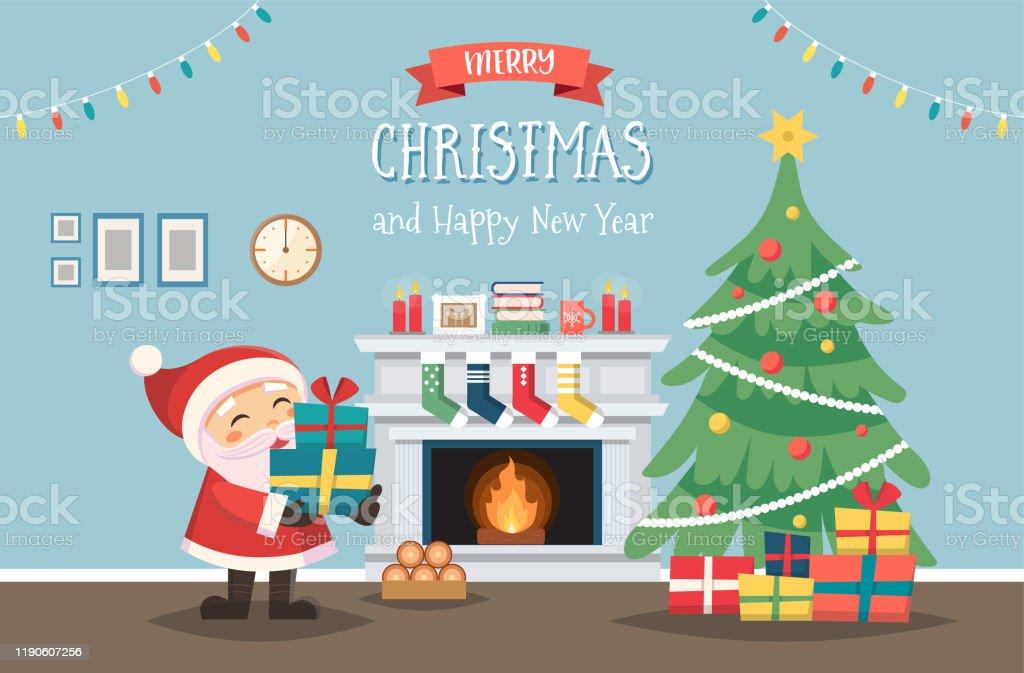 Kerstman met kerstboom en geschenken. Ingericht interieur met open haard. Leuke vector illustratie in platte stijl - Royalty-free Binnenopname vectorkunst