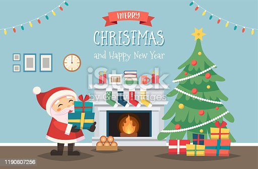 istock Santa Claus with Christmas tree and gifts. Decorated interior with fireplace. Cute vector illustration in flat style 1190607256