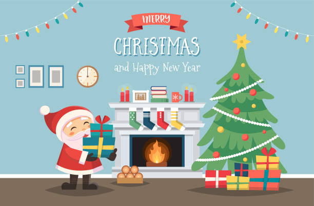 ilustrações de stock, clip art, desenhos animados e ícones de santa claus with christmas tree and gifts. decorated interior with fireplace. cute vector illustration in flat style - braseiro
