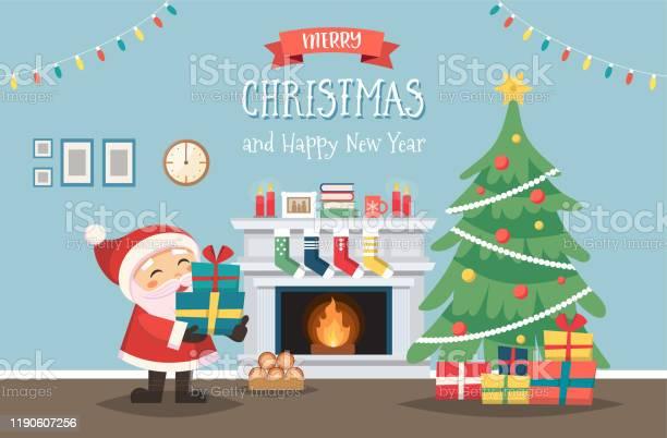 Kerstman Met Kerstboom En Geschenken Ingericht Interieur Met Open Haard Leuke Vector Illustratie In Platte Stijl Stockvectorkunst en meer beelden van Binnenopname