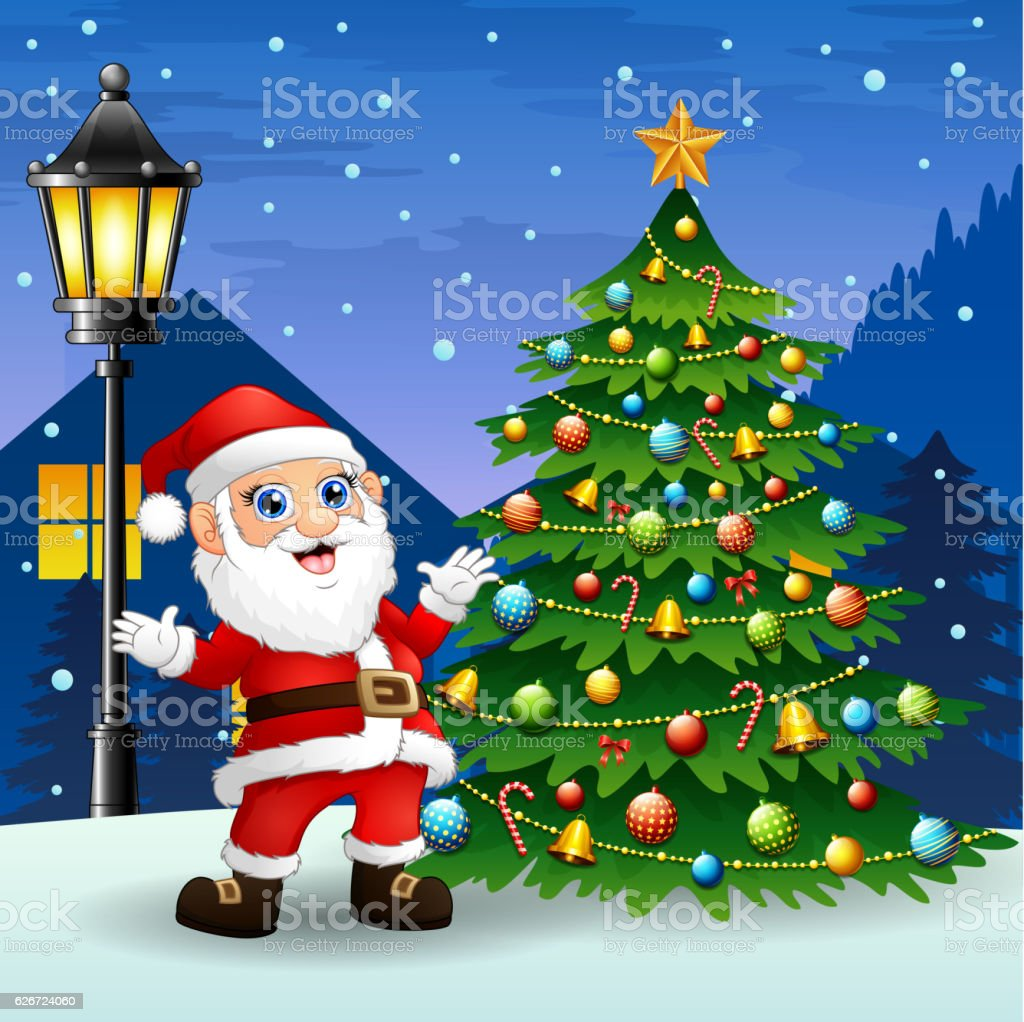 Santa Claus With Christmas Tree Stock Vector Art More Images Of