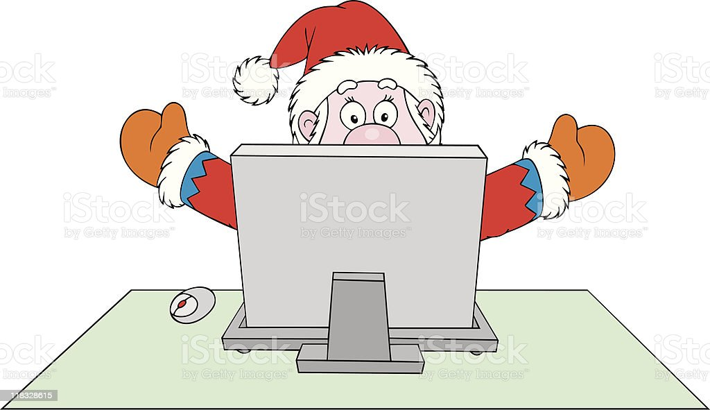 Santa Claus with computer royalty-free stock vector art