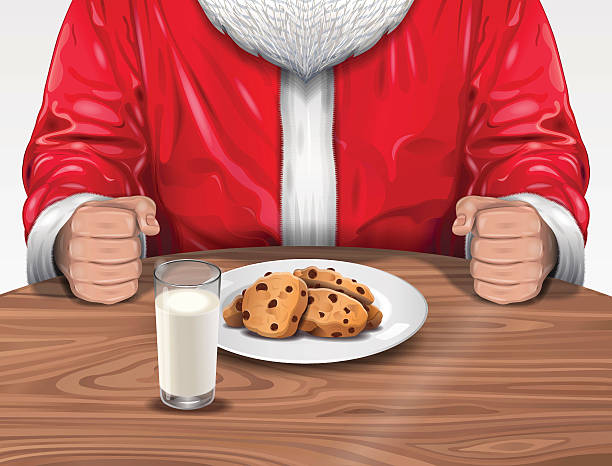 santa claus with cookies and milk - old man long beard silhouettes stock illustrations, clip art, cartoons, & icons