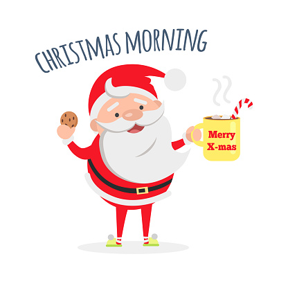 Santa Claus with Cup of Coffee and Tasty Biscuit.
