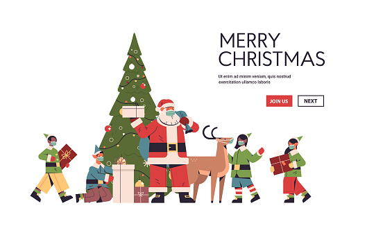 santa claus with elves in protective masks preparing gifts happy new year merry christmas holidays celebration