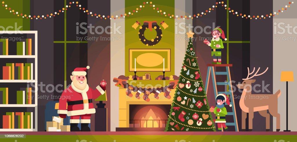 Royalty Free Cute Cartoon Elf Decorating Christmas Tree Clip Art