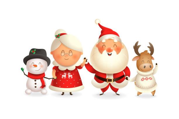 ilustrações de stock, clip art, desenhos animados e ícones de santa claus with family celebrate holidays - moose, snowman and mrs claus - vector illustration isolated on transparent background - cooker happy