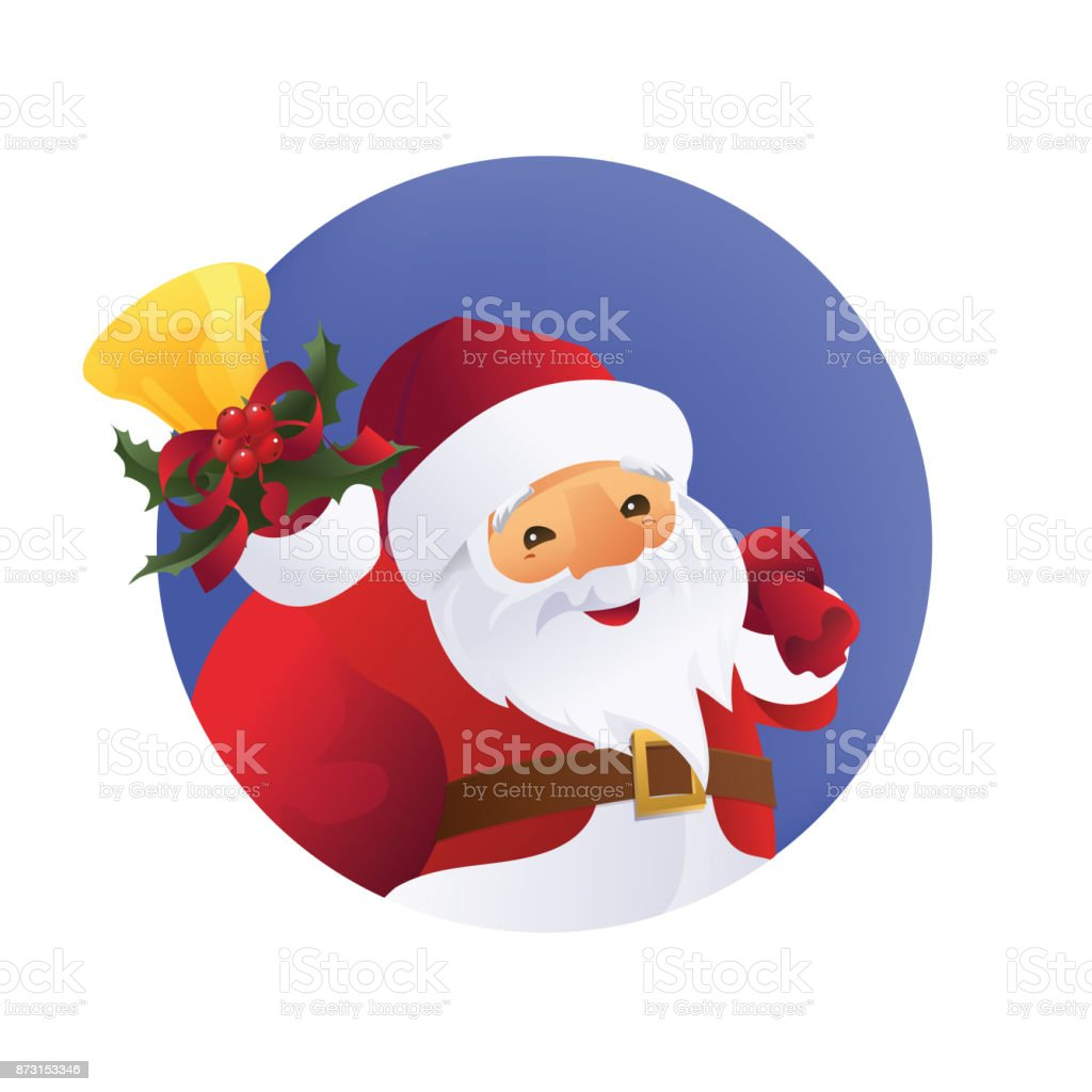 Santa Claus with gift bag and bell in hand. vector art illustration